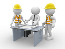 Teamwork. 3d people - human character, person and a office with working draft. Engineer and businessman. Teamwork. 3d render Royalty Free Stock Image
