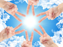 Teamwork. Hands of teamwork , forming the star shape Royalty Free Stock Images