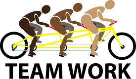 Teamwork. Superior communication and teamwork skills are the key to victory in tandem cycling Stock Photos