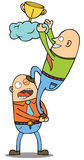 Teamwork. Two man doing teamwork to get a cup. eps 8 file Stock Image