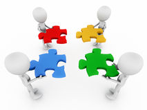 Teamwork. 3d figures trying to figure out a solution to joining a puzzle in vivid colors, business solution and building concept, team effort is required in Royalty Free Stock Photo
