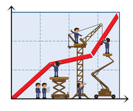 Teamwork. Team of people building a successful business graph. Vector illustration. EPS8. Does not contain gradients, transparent objects and effects Stock Images