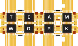 Teamwork. Text with Electronic circuit board,2D art Stock Photography