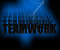 Teamwork 3D Illustration. Teamwork 3-D Illustration with Lightning Royalty Free Stock Image