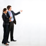 Teamwork. Portrait of business people standing on a white background Stock Photos