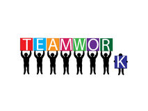 Teamwork. Vector image of team holding up letter placards Royalty Free Stock Photography