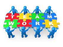 Teamwork. 3d people holding pieces of a jigsaw puzzle with the word teamwork stock illustration