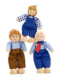 Teamwork. Business concepts, 3 wooden dolls illustrating teamwork stock photography