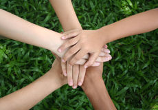 Teamwork. Children's hands Royalty Free Stock Photo