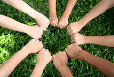 Teamwork. Children's hands Royalty Free Stock Image