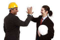 Teamwork. Businessmen teamwork partners clapping hands Royalty Free Stock Image