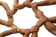 Teamwork. Ring of hands giving a teamwork theme Stock Images