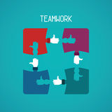 Teamwork abstract vector concept with jigsaw puzzle in flat style Stock Photography