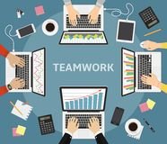 Business teamwork, business coworkers. Business meeting, teamwork, brainstorming. Team of businessmen in work. Teamwork on accounting, planning strategy Royalty Free Stock Photos
