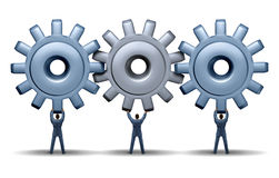 Teamwork Achievement. Business concept with a working group of three businessmen holding up gears and cog wheels connected together in a network for financial Stock Images