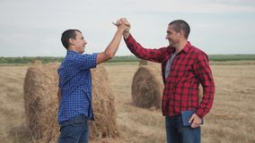 Teamwork agriculture smart farming concept. Two men farmers business having firm friendly handshake workers shake hands. Studying haystack in field lifestyle on stock video footage
