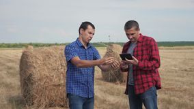 Teamwork agriculture smart farming concept. two men farmers workers studying a haystack in a field on digital tablet. Teamwork agriculture smart farming concept stock video footage