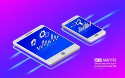 Teamwork-Analytikinformationen über Tablette und Smartphone Lizenzfreie Stockfotos
