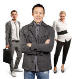 Teamwork and Asian Man With Folded Hands Royalty Free Stock Photography