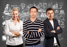 Teamwork and Asian Man In Striped Pullover Stock Photography