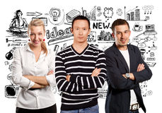 Teamwork and Asian Man In Striped Pullover Royalty Free Stock Image