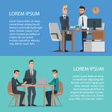 Teamwork and assistance business concept design usage. Concentrated cartoon businessman and boss are working together on a project using desktop computer Stock Images