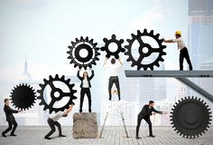 Teamwork av businesspeople