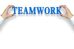 Teamwork background. Businessman is holding the Teamwork text against the white background with copy space vector illustration