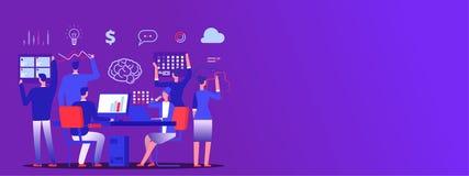 Teamwork baner för utrymme för kopia för vektor för affärslagkläckning av ideer royaltyfri illustrationer