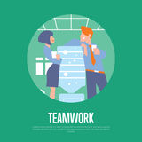 Teamwork banner with business people Royalty Free Stock Photo