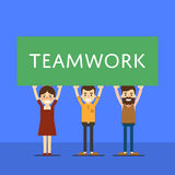 Teamwork banner with group of smiling people. Group of smiling people holding big banner over head. Teamwork banner,  vector illustration on blue background Stock Images