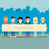 Teamwork banner with group of smiling people. Group of smiling people holding big banner. Teamwork banner, vector illustration on blue cityscape background Stock Photo