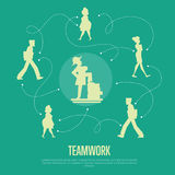Teamwork banner with people silhouettes. Abstract teamwork banner with people silhouettes and logical connections between them,  vector illustration on green Stock Photos