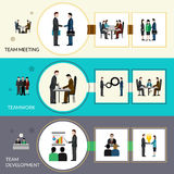 Teamwork Banner Set. Teamwork horizontal banner set with meeting and development elements  vector illustration Stock Images