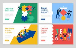 Teamwork Banners Set. Teamwork horizontal banners set with project support symbols flat isolated vector illustration stock illustration