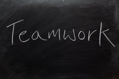 Teamwork on Blackboard. The word Teamwork written on a blackboard Stock Images