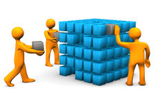 Teamwork Blue Cube Royalty Free Stock Photography