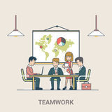 Teamwork brainstorming Business people Linear Flat stock illustration