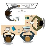 Teamwork and brainstorming,business process,top view. Workplace and business people,flat vector illustration royalty free illustration