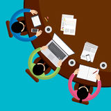 Teamwork and brainstorming concept with businessmen seating around table and working Royalty Free Stock Images