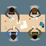 Teamwork, brainstorming, startup. Flat vector illustration. Four people different races sitting and working together at the round table. Global Teamwork Royalty Free Stock Images