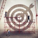 Teamwork build a business target . Mixed media Stock Photography