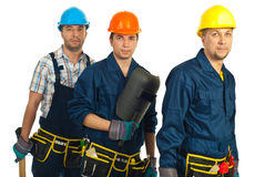Teamwork of builders men Stock Image