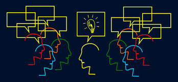 Teamwork builds big idea Stock Image