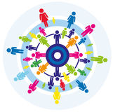 Teamwork busines concept. Cooperation, teamwork, communication, partnership, community, company concept, business idea, colorful figure around circle, isolated Royalty Free Stock Photos