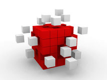 Teamwork business abstract concept with red cubes. Royalty Free Stock Photography