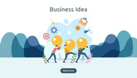 teamwork business brainstorming Idea concept with big yellow light bulb lamp, tiny people character. creative innovation solution stock illustration