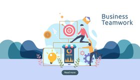 teamwork business brainstorming Idea concept with big yellow light bulb lamp, tiny people character. creative innovation solution royalty free illustration