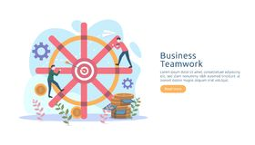 teamwork business brainstorming Idea concept with big yellow light bulb lamp, tiny people character. creative innovation solution vector illustration