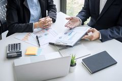 Teamwork of business colleagues, consultation new strategy plan business and market growth on financial document graph report,. Conference to making growth royalty free stock photography